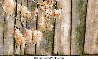 Digitally modified image. Tree branches on wooden boards.