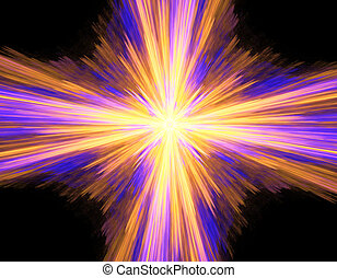 Digitally rendered abstract multicolored exploding supernova on black.