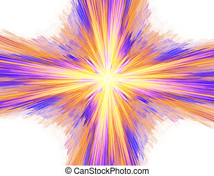 Digitally rendered abstract multicolored exploding supernova on white.