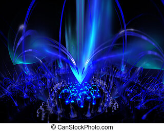 Digitally rendered blue fountain of plasma flame on black.