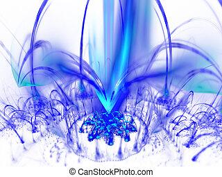 Digitally rendered blue fountain of plasma flame on white.