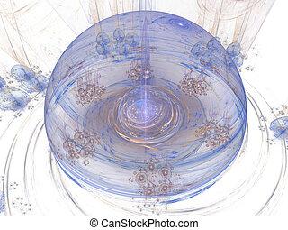 Digitally rendered high detailed blue sphere on white.