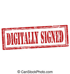 Digitally Signed-stamp - Grunge rubber stamp with text...