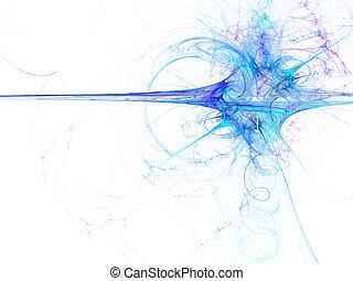 digitally, viszonoz, elvont, kék, kirobbanó, fractal, képben...