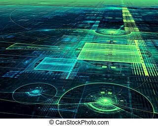 digitalmente, astratto, -, superficie, generare, tecnologia,...