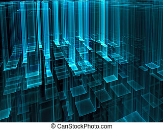digitalmente, astratto, -, vetro, generare, tecnologia,...
