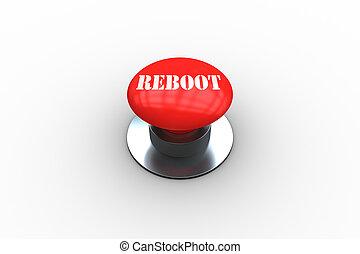 digitalmente, botão, reboot, gerado, empurrão, vermelho