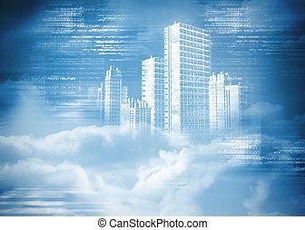 digitalmente generato, ologramma, di, città, in, nubi