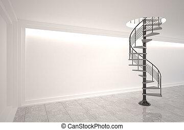 digitalmente gerado, sala, com, staircase enrolamento