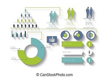 digitalmente, verde, infographic, empresa / negocio, generar, azul