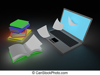 Digitizing book concept - render of the digitizing process...