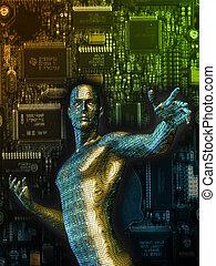 3D rendering of a cybernetic man