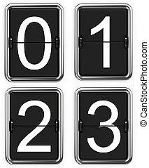 Digits 0 1 2 3. Set of Digits on Mechanical Scoreboard - Thin Font.