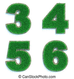 Digits 3, 4, 5, 6 of Green Lawn. - Digits 3, 4, 5, 6 - Set...