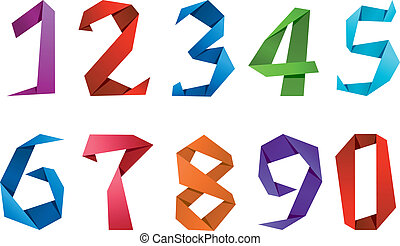 Colorful digits and numbers in origami paper style
