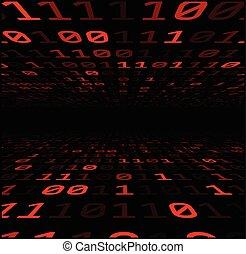digits., arrière-plan rouge, binaire