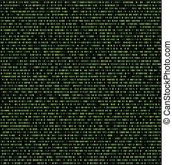 digits., fond, binaire, vert