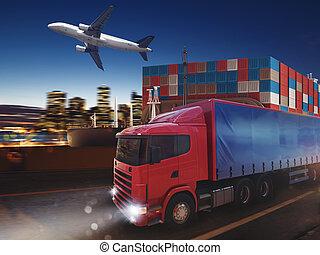 digiuno, camion, su, strada, trasmettere, distribuire, notte, con, carico, e, aeroplano, in, fondo., 3d, interpretazione