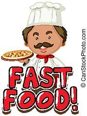 digiuno, chef, parola, disegno, font, pizza, cibo