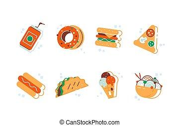 digiuno, colorito, set, cartone animato, cibo