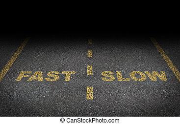 digiuno, e, lento, corsie
