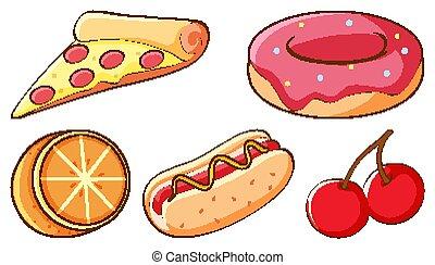 digiuno, fondo, alimenti freschi, frutte, bianco, set