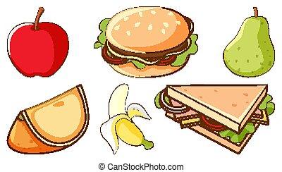 digiuno, fondo, cibo, frutte, bianco, set, sano