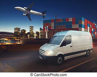 digiuno, furgone, su, strada, trasmettere, distribuire, notte, con, carico, e, aeroplano, in, fondo., 3d, interpretazione