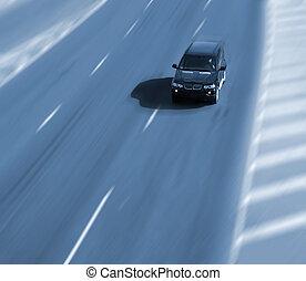 digiuno, guida, automobile, su, uno, autostrada