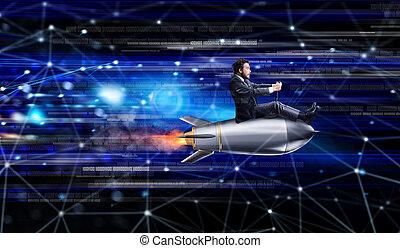 digiuno, internet, concetto, con, uno, uomo affari, sopra, uno, razzo
