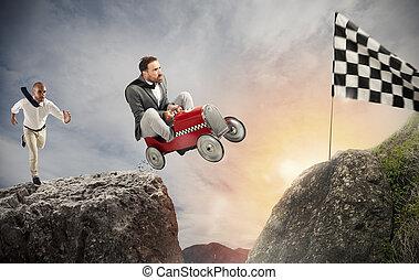digiuno, uomo affari, con, uno, automobile, vince, contro, il, competitors., concetto, di, successo, e, concorrenza