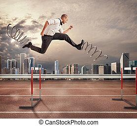 digiuno, uomo affari, superare, e, ottenere, success., 3d, interpretazione