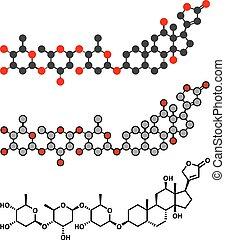 Digoxin heart failure drug molecule. Extracted from foxglove plant (digitalis lanata)