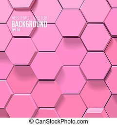 Digtal abstract background with 3d pink hexagons in mosaic light style vector illustration