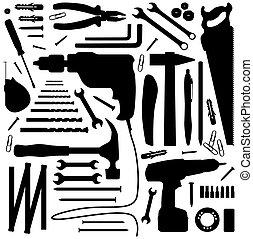 diiy, werktuig, -, silhouette, illustratie
