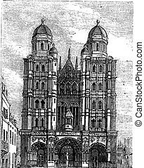 Dijon Cathedral in Burgundy, France, vintage engraving
