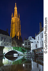 Dijver canal and the Church of Our Lady at nigh (Bruges) -...