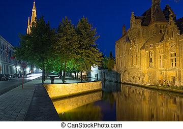 Dijver canal at night (Bruges) - Dijver canal and tower of...