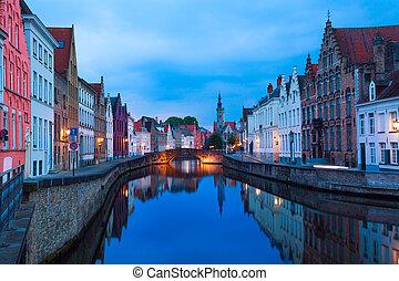Dijver Spiegelrei street from canal during evening - Dijver...