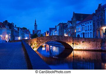 Dijver Spiegelrei street from canal during night - Dijver...