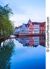 Dijver Spiegelrei street view from river in Bruges - Dijver...
