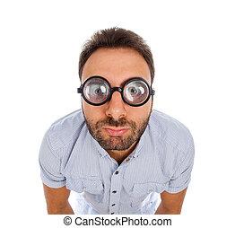 dik, man, uitdrukking, verwonderd, bril