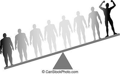 dik, passen, dieet, fitness, gewicht aderlating, weeg schaal
