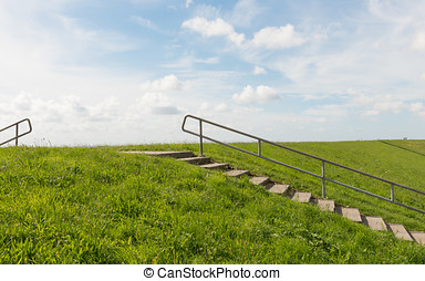 Dike and Stairs Texel - Dike on the isle of Texel near...