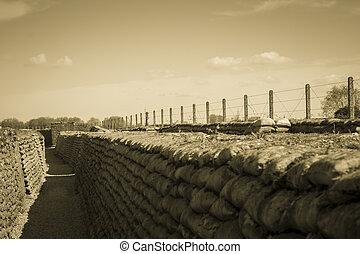 dike, död, fält, 1, flandern, belgien, värld, krig