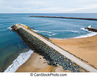 Dikes aerial view at La Barre in Anglet, France