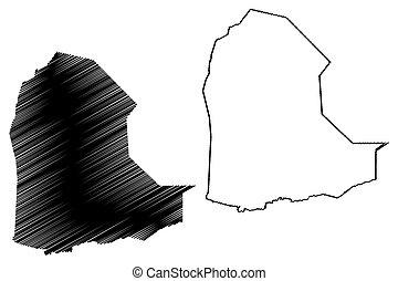 Dikhil Region (Republic of Djibouti, Horn of Africa, Gulf of Aden) map vector illustration, scribble sketch Dikhil map
