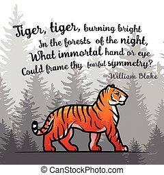 dikten, blake, gammal, affisch, tiger, illustration, bengal,...