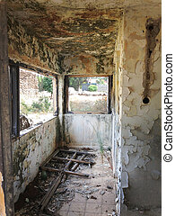Dilapidated abandoned house - Interior passage in an old...