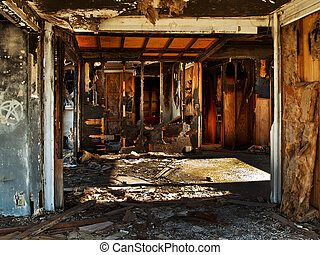 Dilapidated House - dilapidated abandoned house at the...